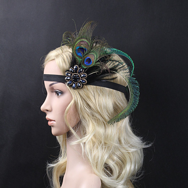 Kmvexo Wedding Hair Accessories Rhinestone Band 1920s Vintage Gatsby Party Headpiece Women Fler Pea Feather