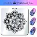 NACIDO PRETTY 6*6 cm Square Nail Art Sello Estampado de Placas BP-X15 Mandala Diseño Sello placa de la Imagen de Plantilla para Las Uñas
