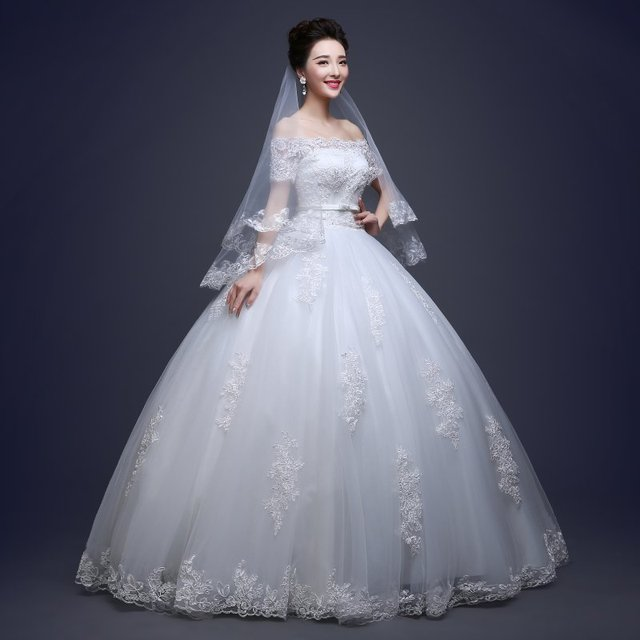Free Shipping Wedding Dresses 2016 New Elegant White Bridal With Lace Beading Ball Gown Robe