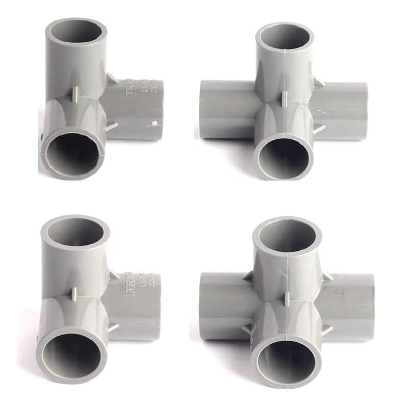 ID 20mm 25mm Stereoscopische PVC Connectors Duurzaam Tuin Waterleiding Slang 90 Graden Tee Cross Connector Irrigatie Buis gewrichten