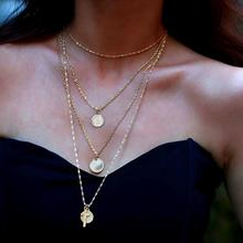 Multi Layer Clavicle Coin Chain Necklaces New Fashion Personality Creative Retro Cross Necklace