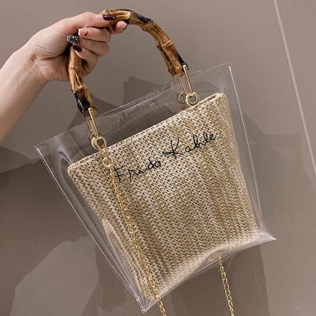 Woman Bag Trendy Clear Jelly Shoulder Bags Ladies Bamboo Weave Handbags For Party bolsa feminina bags for women 2019