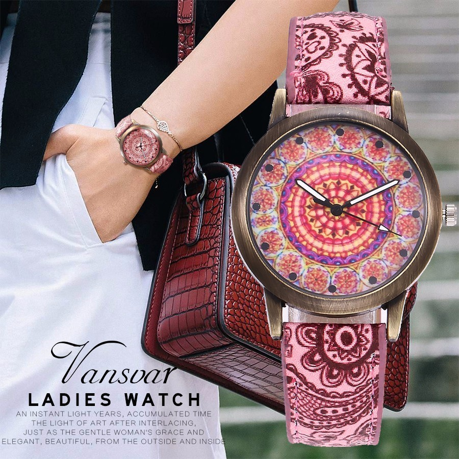 Dropshipping Women Creative Flower Watches Ladies Fashion Casual Leather Quartz Wristwatches Gift Clock Relogio Feminino Hot