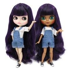 Buzlu fabrika blyth doll bjd oyuncak derin mor saç koyu/beyaz cilt ortak vücut bjd hediye 1/6 30cm oyuncak