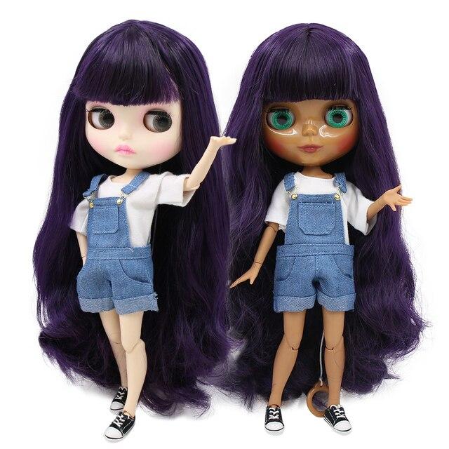 ICY factory blyth doll bjd toy Deep Purple Hair dark/white skin joint body bjd gift 1/6 30cm toy