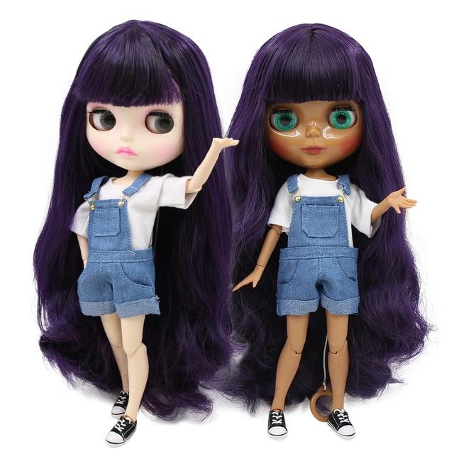 factory blyth doll 1/6 bjd 280BL169 Deep Purple Hair dark/white skin joint body gift 1/6 30cm