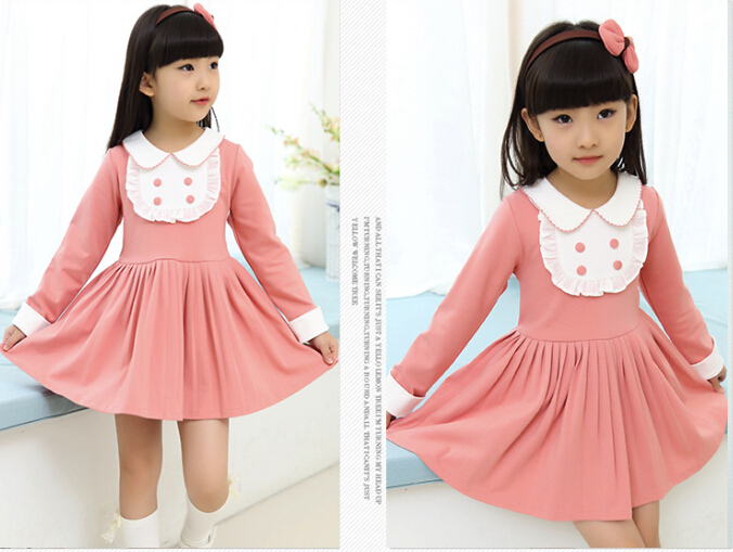New Spring Baby Girl Dress Girls Cute Bow Cotton Dress 3 12 Age Children  Long Sleeve Peter Pan Collar Vestidos Kids Clothes D50D-in Dresses from  Mother ... e09a7cfa942b