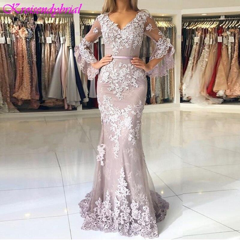 SQM027 Robe De Soiree longue New Style Half Sleeves V Neck Mermaid Evening Dresses Muslim Long
