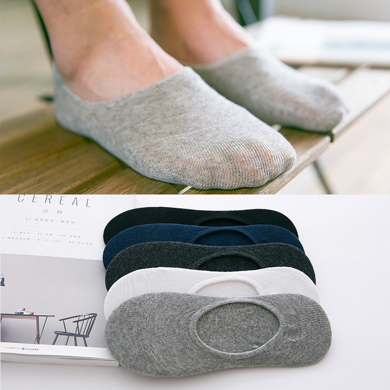 5Pairs/Lot Fashion Casual Men Socks High Quality Banboo & Cotton Boat Socks Slipper Invisible Slippers Male Shallow