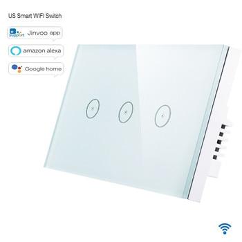 Norme US 10A/Gang Smart WIFI commutateur 1/2/3 Gang panneau tactile, commutateur de lumière Wifi à distance sans fil, fonctionne avec Alexa Google Home