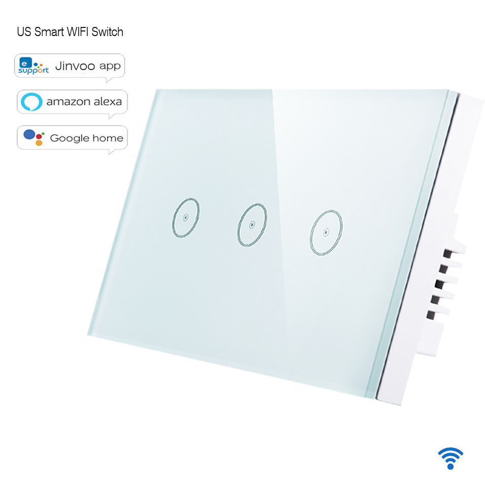 Padrão dos eua 10a/gang interruptor wi-fi inteligente 1/2/3 gang painel de toque, interruptor de luz wi-fi remoto sem fio, funciona com alexa casa do google
