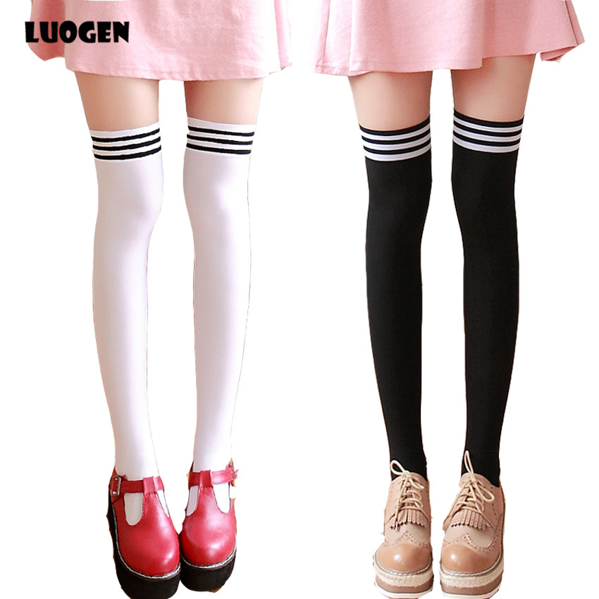 2017 Fashion 3 Stripes JK School Uniform Over Knee High Tight Socks Velvet Lolita Stocking
