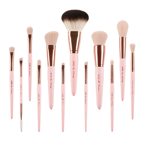 Image 2 - Professionelle 12 stücke set Rosa Make Up Pinsel Mit Goldenen Leder Tasche Hohe Qualität Make Up Tools Eye Make up Pinsel