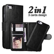 LANCASE iphone 6 ケース革 2 で 1 マグネット着脱式 Iphone 6S プラス 8 7 プラス 6 6S 5S 、 SE ケース財布 Coque