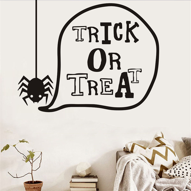 ordinary Halloween Wall Art Part - 4: Trick or Treat Lovely Spider Halloween Wall Stickers For Kids Room Wall  Decor Decorated Art Decal Halloween Home Decorations