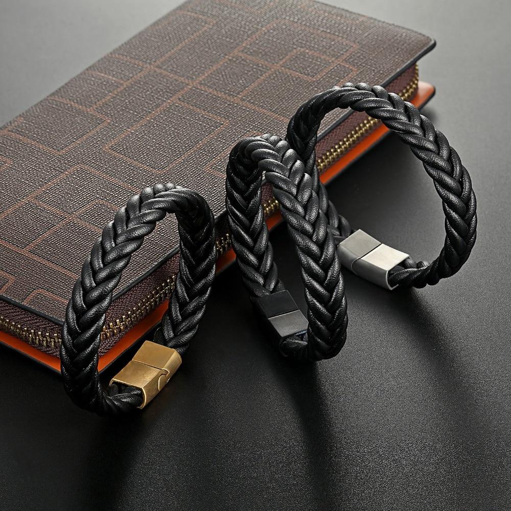 MOGE Trendy Braided Leather Bracelets Men Black Stainless Steel Clasp Bracelets Bangles BlackBrown Rope Chain Punk Wristband