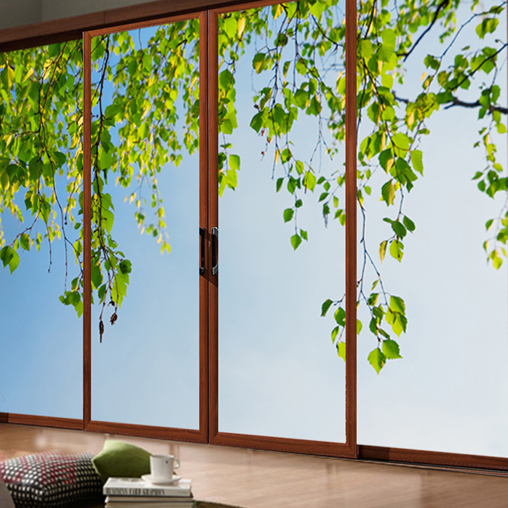 yazi Customized Size Green Leaf PVC Self-adhesive Wallpaper Sliding Door Sticker Decal Window Glass Film Home Decor