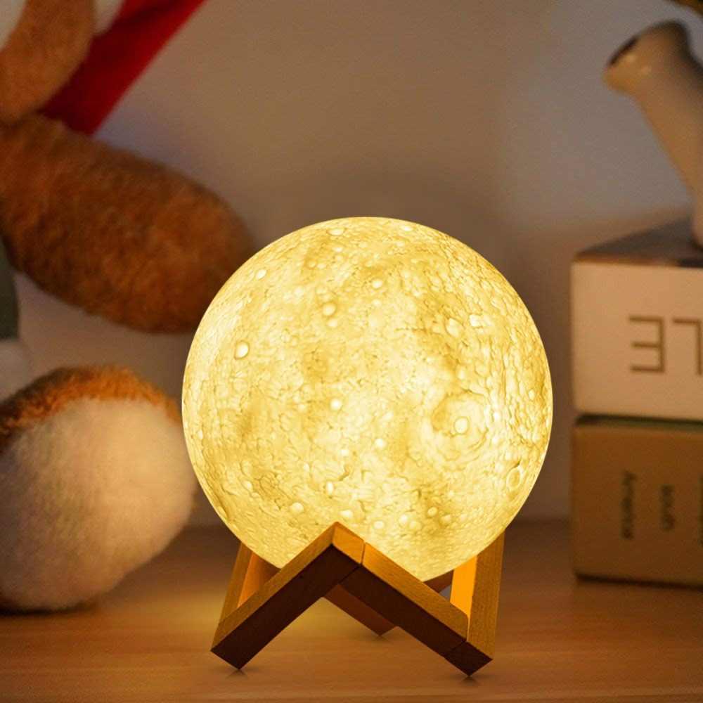 AIMENGTE перезаряжаемая лампа с 3D принтом Луны, 2 цвета, сенсорный выключатель, USB светодиодный прикроватный стол, Настольная декоративная лампа для детей, подарок