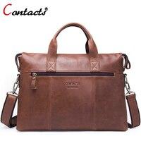 Contact S Brand Genuine Leather Handbag Men S Bag Shoulder Bag Men Messenger Bags Laptop Briefcase