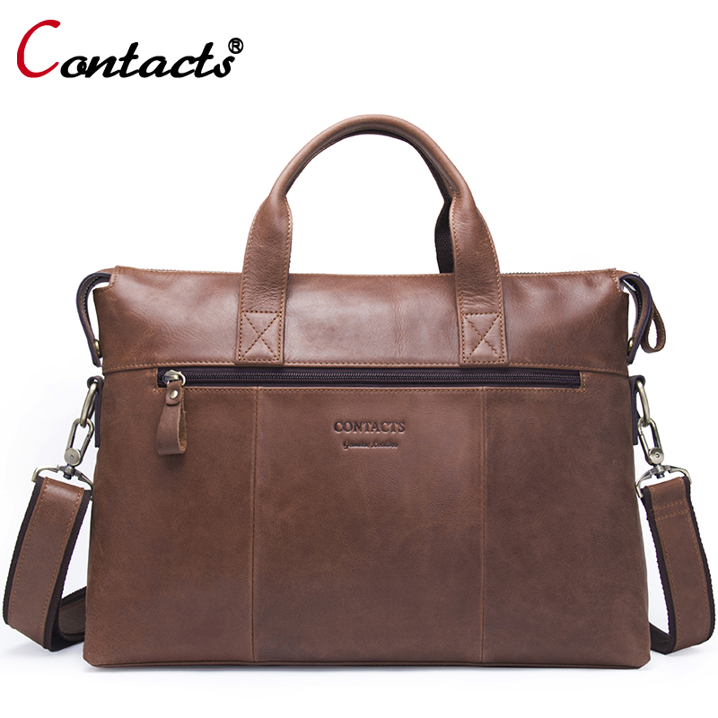 Contact's Brand Genuine Leather Handbag Men's Bag Shoulder Bag Men Messenger Bags Laptop Briefcase Male Crossbody Bag Big Casual aerlis brand men handbag canvas pu leather satchel messenger sling bag versatile male casual crossbody shoulder school bags 4390