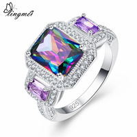 lingmei New Arrival Big Multicolor Royal Blue Purple White CZ Silver Color Size 6 7 8 9 Fashion Elegent Women Jewelry Wholesale