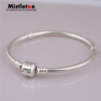 Authentic 925 Sterling Silver Bracelet Snake Chain Fit European Jewelry