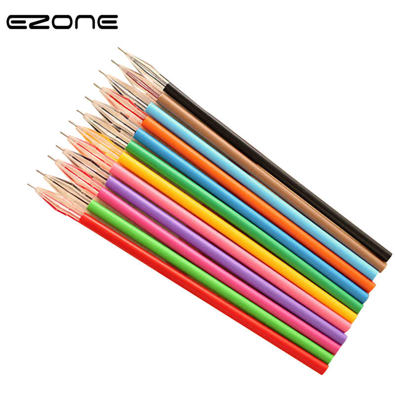 EZONE 12PCS/Lot Cute Candy Colorful <font><b>Gel</b></font> <font><b>Pen</b></font> <font><b>Refill</b></font> Set Korean Creative Gift Colored <font><b>0.38</b></font> <font><b>Pen</b></font> <font><b>Refills</b></font> School Office Stationery image