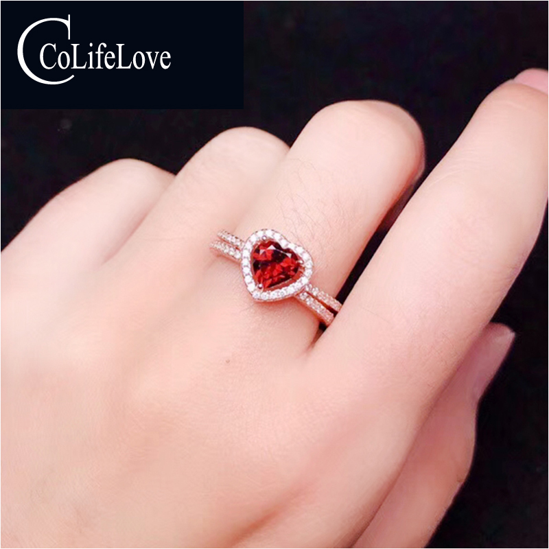 CoLife Jewelry 925 Sterling Silver Heart Ring with Garnet 6mm Heart Cut Natural Garnet Silver Ring Romantic Engagement RingCoLife Jewelry 925 Sterling Silver Heart Ring with Garnet 6mm Heart Cut Natural Garnet Silver Ring Romantic Engagement Ring