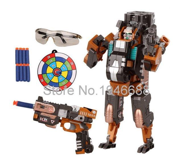 HaBiBi Metal Alloy Transformable Toy Gun Change Into Robot Blaster  Deformation Shoot EVA Soft Bullet Not