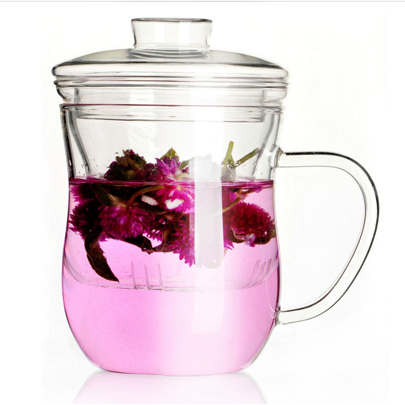 Transparent Borosilicate Glass Tea Cup Mug Set with Lid and Filter Heat-resistant Glass Flower Cup Teapot Water Drinking Bottle lid