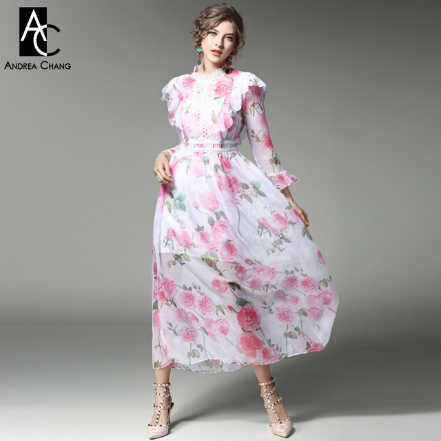 bfae3f9b3af5 spring summer runway designer woman dress white silk dress pink red flower  print lace chest ruffle shoulder high quality dress