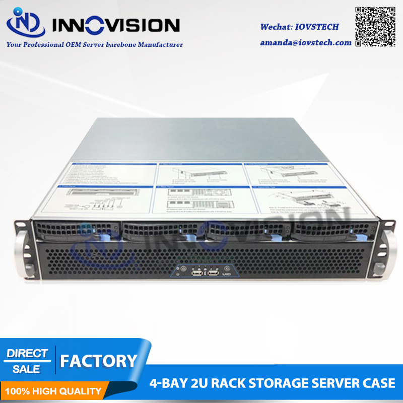 2018 Short 2U Case 400mm Huge Storage 4bays Hot Swap Rack Server Chassis