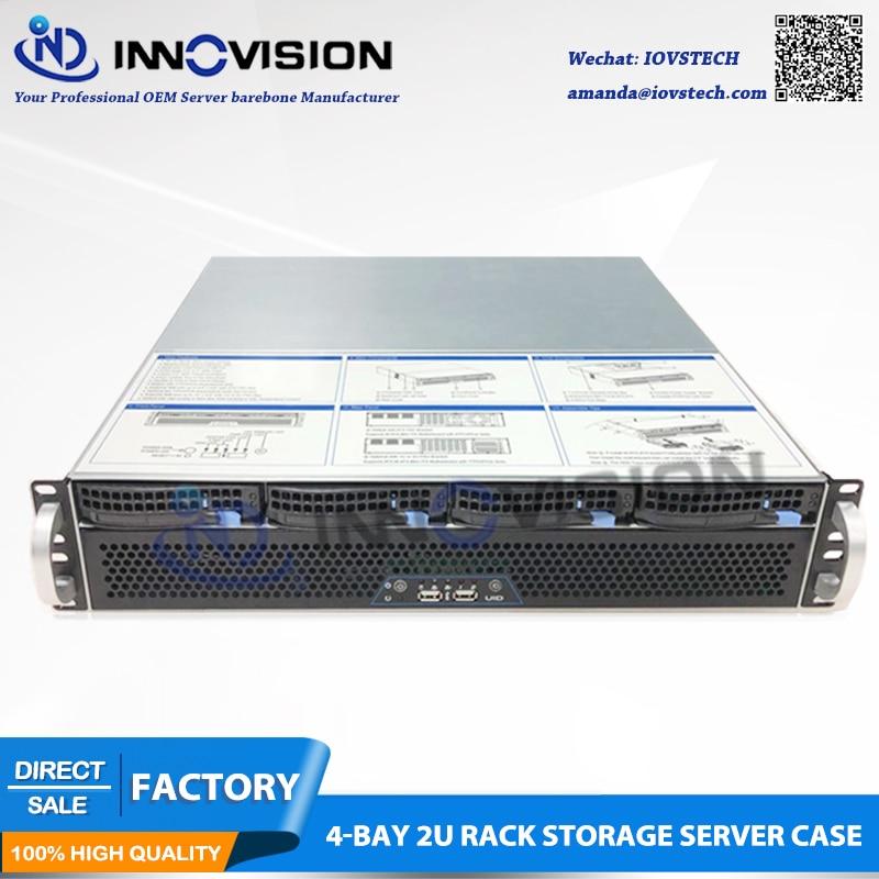 2018 Short 2U Case 400mm Huge Storage 4bays Hot Swap Rack Server Chassis