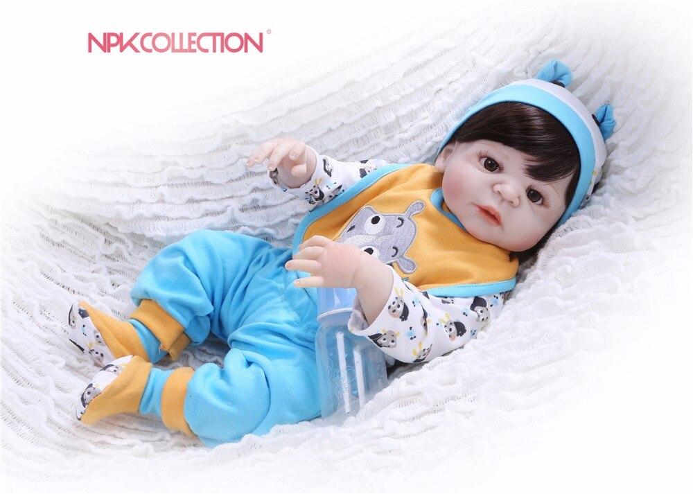 NPK New 57CM Full Body Silicone Girl Reborn Babies Doll Toys Prince Babies Doll Wig Hair Cute Birthday Gift the best Xmas gift girl