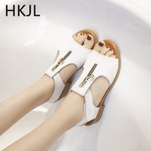 HKJL Fashion 2019 new summer flat schoolgirl sandals with chunky Roman slip-resistant peep-toe go everything A120