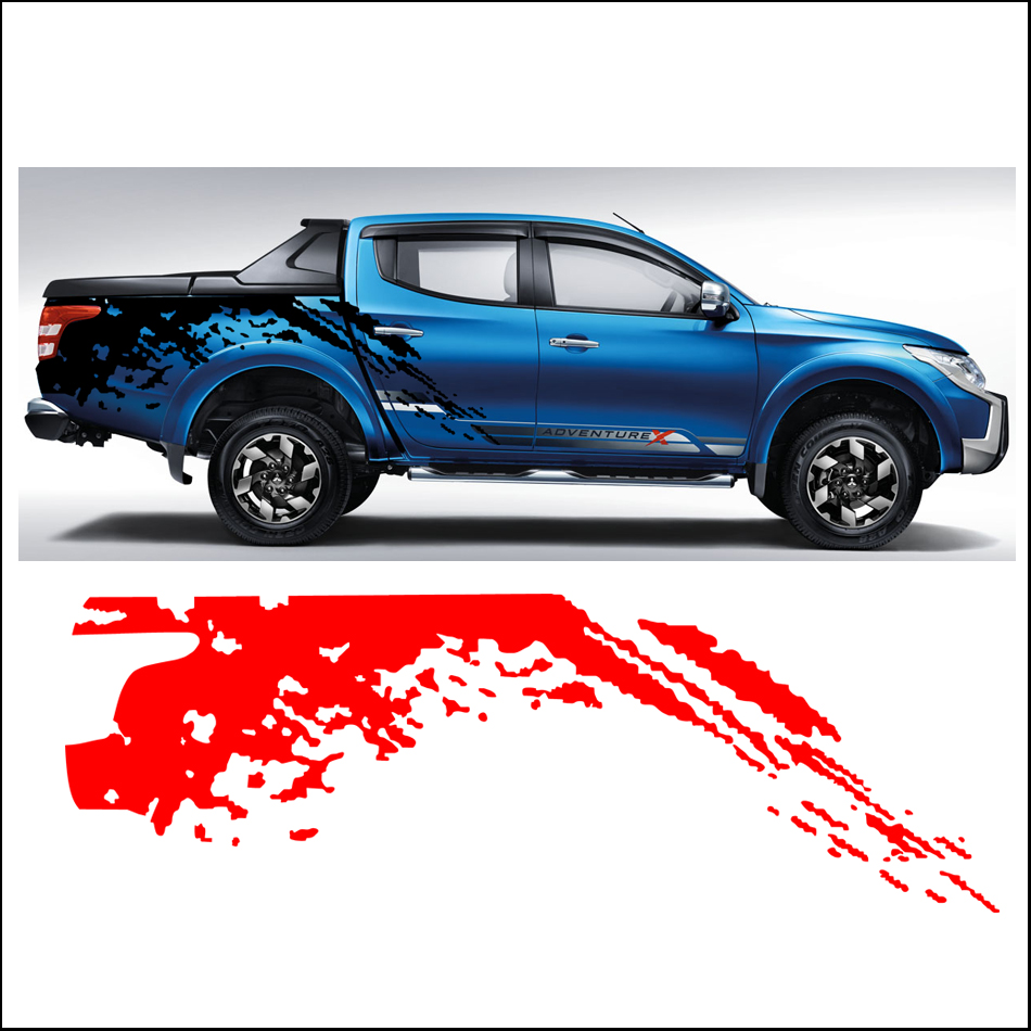 Car side body sticker design - Mudslinger Body Rear Tail Side Graphic Vinyl For Mitsubishi L200 Triton2015 Sticker China Mainland