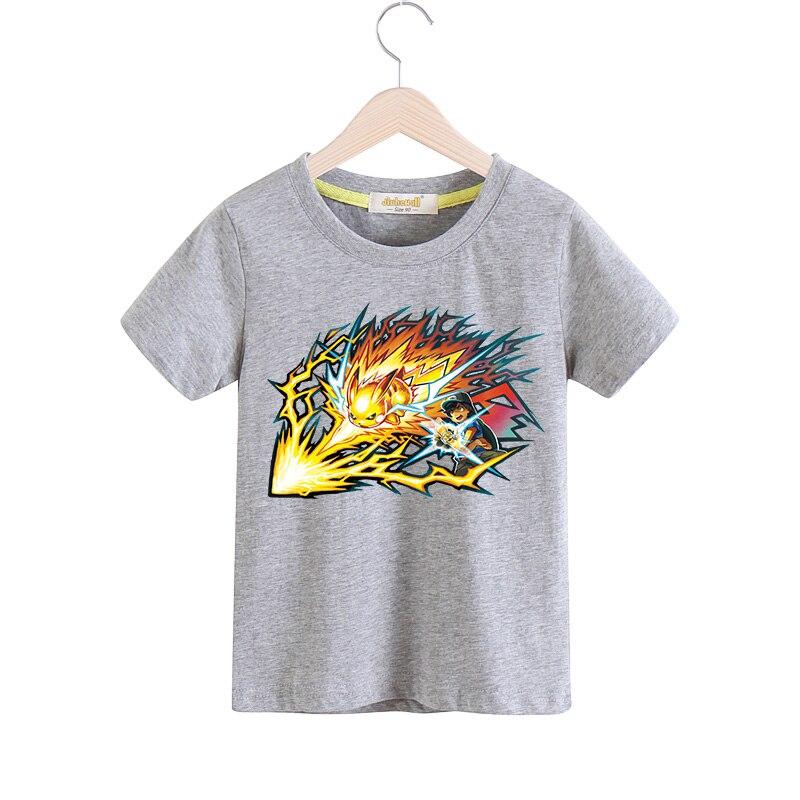 Children New Pokemon Pattern Printing T-shirt For Boy Girls 100%Cotton Tee Tops Costume Kids Cartoon White T Shirt Clothes TX021 christmas pattern ugly t shirt