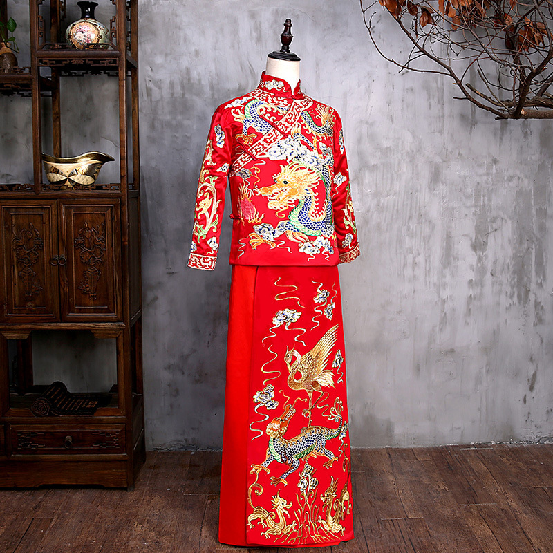 New arrival male red cheongsam Chinese style costume the groom dress jacket long gown traditional Chinese