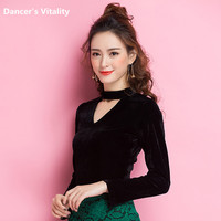 2017New Latin Dance Clothes Adult Black Costume Competition Dance T shirt Long Sleeve Slim Sexy Autumn Winter Latin Shirt