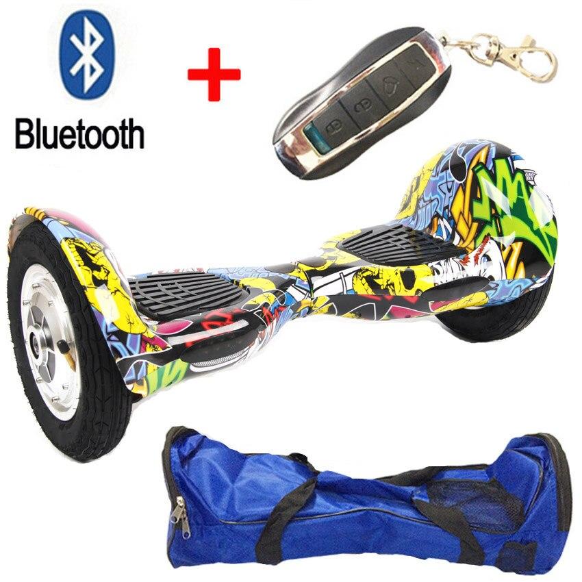 10 pouces 2 roues auto électrique Scooter monocycle planche à roulettes hoverboard Bluetooth + télécommande + sac vol stationnaire bord
