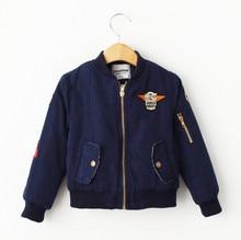 YB50964470 Розничная 2016 Новый Мальчик Куртка V-образным Вырезом Аппликации Этикетки Пилотные Мальчики Пальто Мальчик Верхняя Одежда Детская Одежда Мальчик Одежды Случайные