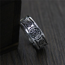C&R 925 Sterling Silver Rings for men four Mythical Animals Thai Silver opening ring male Fine Jewelry Size 7-10 Adjustable