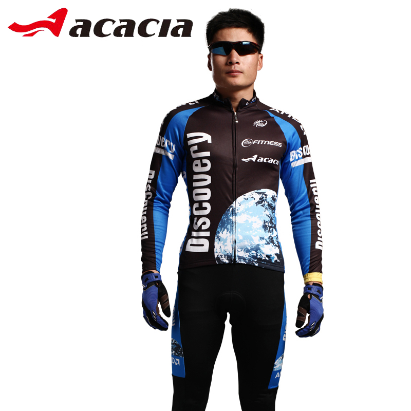 ФОТО ACACIA Bicycle Cycling Set Spring Autumn Winter Long Sleeve Bike Jersey Cycling Clothing Long Pants Bicycle Men Suit 02367
