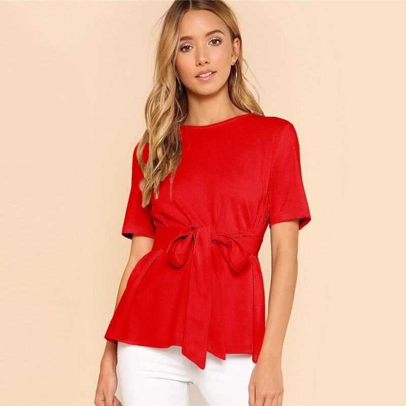 Sheinside Self Belt Keyhole Back Blouse Solid Short Sleeve Top 18 Summer Women Office Ladies Work Elegant Blouse 14
