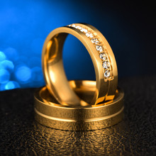 цена Hip Hop Iced Out Wedding Rings for Women Men Couple Promise Band Gold Color Stainless Steel Anniversary Engagement Jewelry онлайн в 2017 году