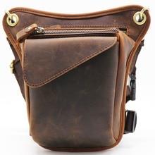 ФОТО genuine leather casual multi-function bag men's leg waist pack phone tool kit organizer shoulder bags male cowhide messenger bag