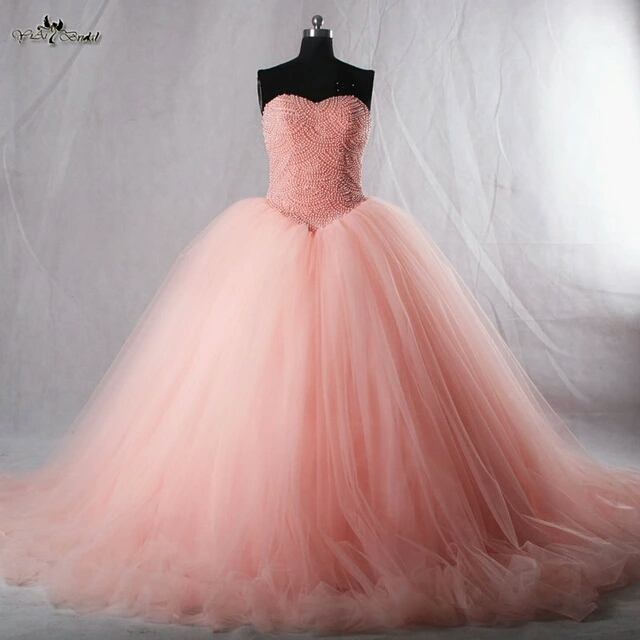 f44aa616f05 Luxuries Amazing 2016 Puffy Real Sample vestido de festa Ball Gown Lace Up  Pearls Tulle Prom Dresses Floor Length-in Prom Dresses from Weddings    Events on ...