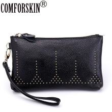 New Arrival Luxury Split Leather European American Feminine Designer Women Rivet Day Clutches Best Price