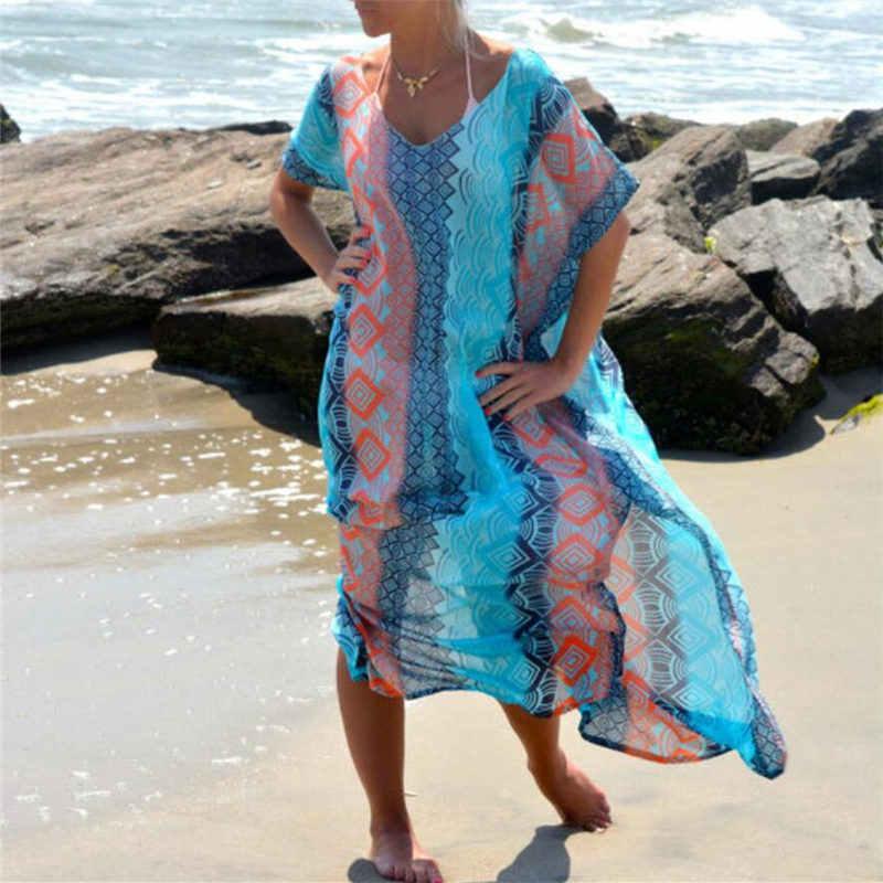 Наряд кафтан на пляж парео саронг пикантные Cover-Up шифон Купальники Бикини Туника купальник накидка на купальный костюм; Robe De Plage # Q8
