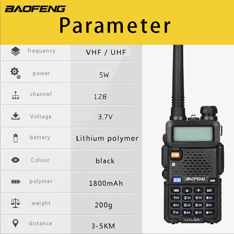 Baofeng ασύρματο ραδιόφωνο uv-5r Walkie Talkie - Φορητό ραδιοτηλέφωνο - Φωτογραφία 5